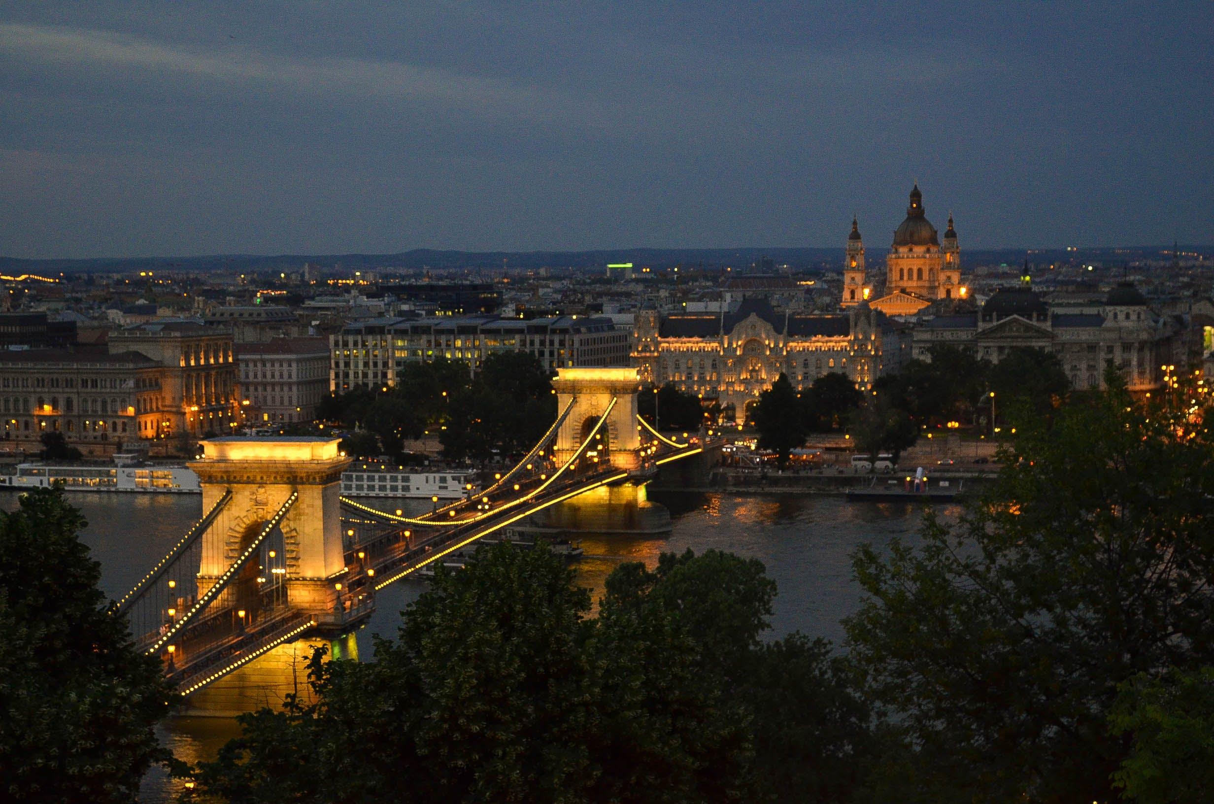 Free stock photo of bridge, Budapest, city, dusk