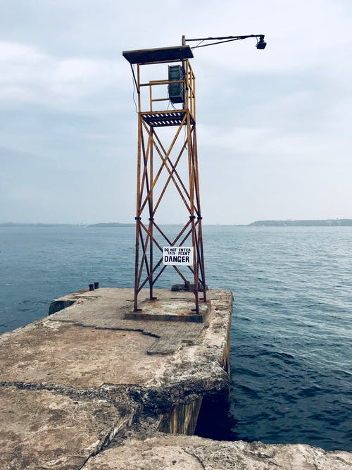 Watch Tower With Lamp Near Body of Water