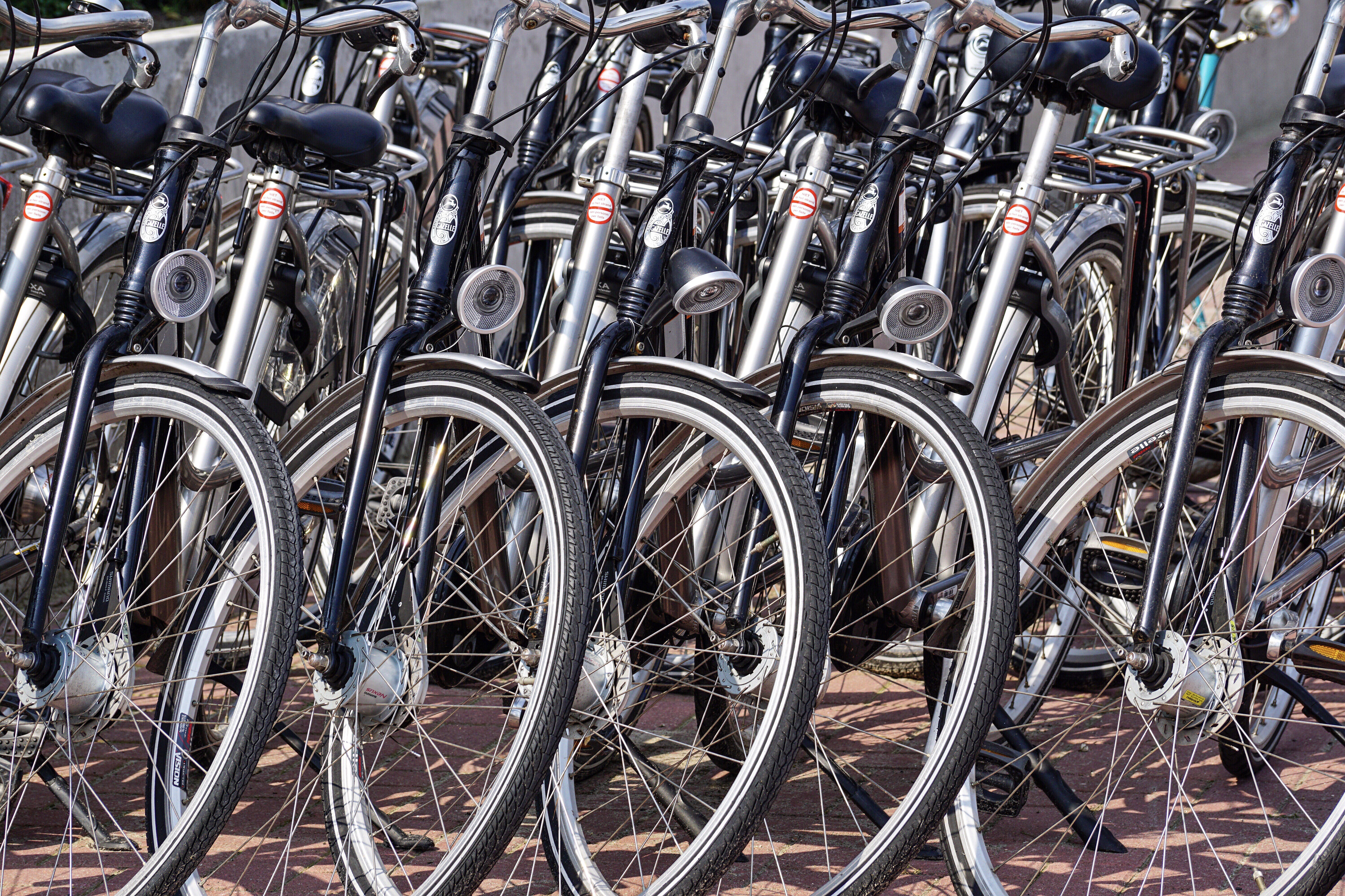 Gray and Black Bicycles Parked Near Gray Wall