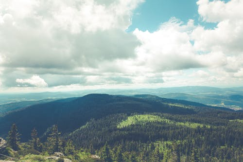Free stock photo of clouds, forest, landscape, mountain range