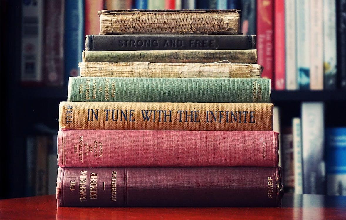 bibliotek, böcker, bok
