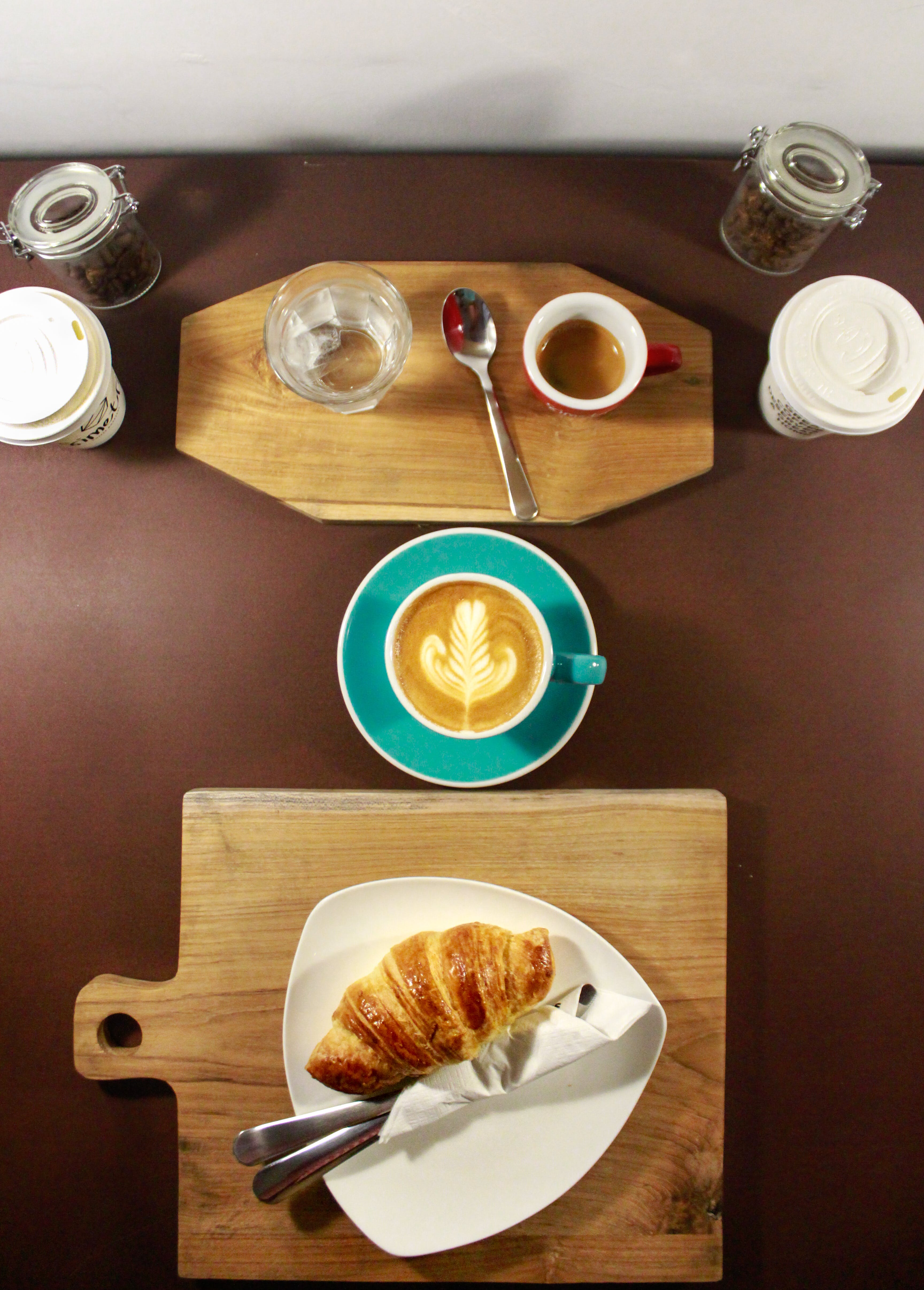 Flat Lay Food Photography of Plate of Croissant