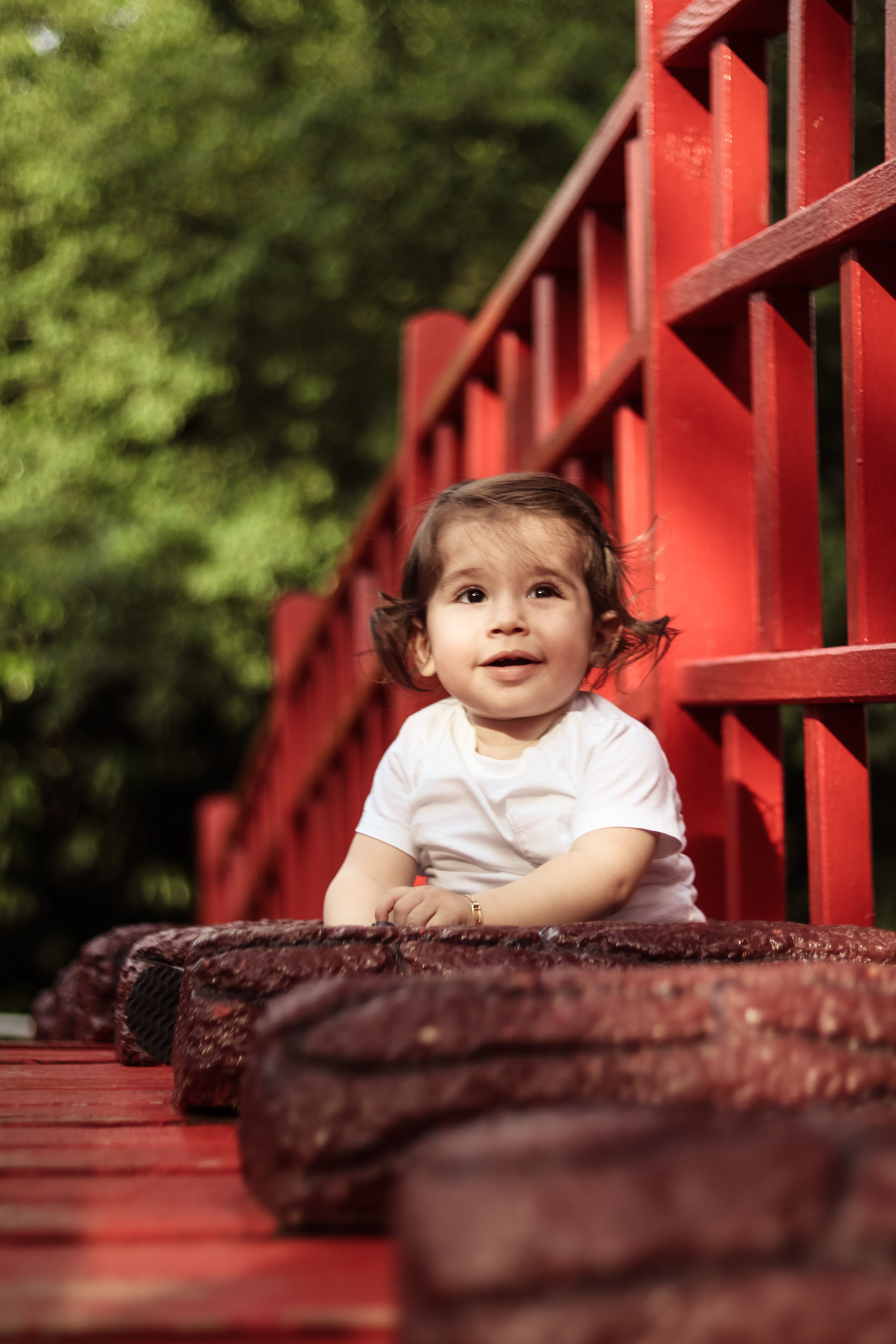 Baby Wearing White Crew-neck Shirt Beside Red Wooden Fence