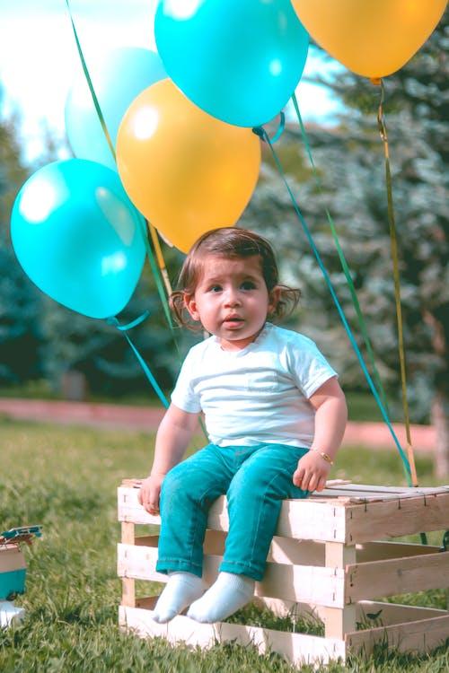 baby, ballons, gras