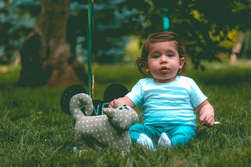Toddler Wearing Teal T-shirt and Teal Pants Beside Gray Cat Plush Toy