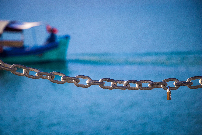 Free stock photo of blue, boat, chain, love locks