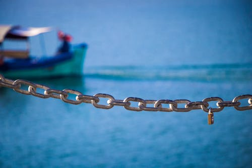Free stock photo of blue, boat, chain, love locks