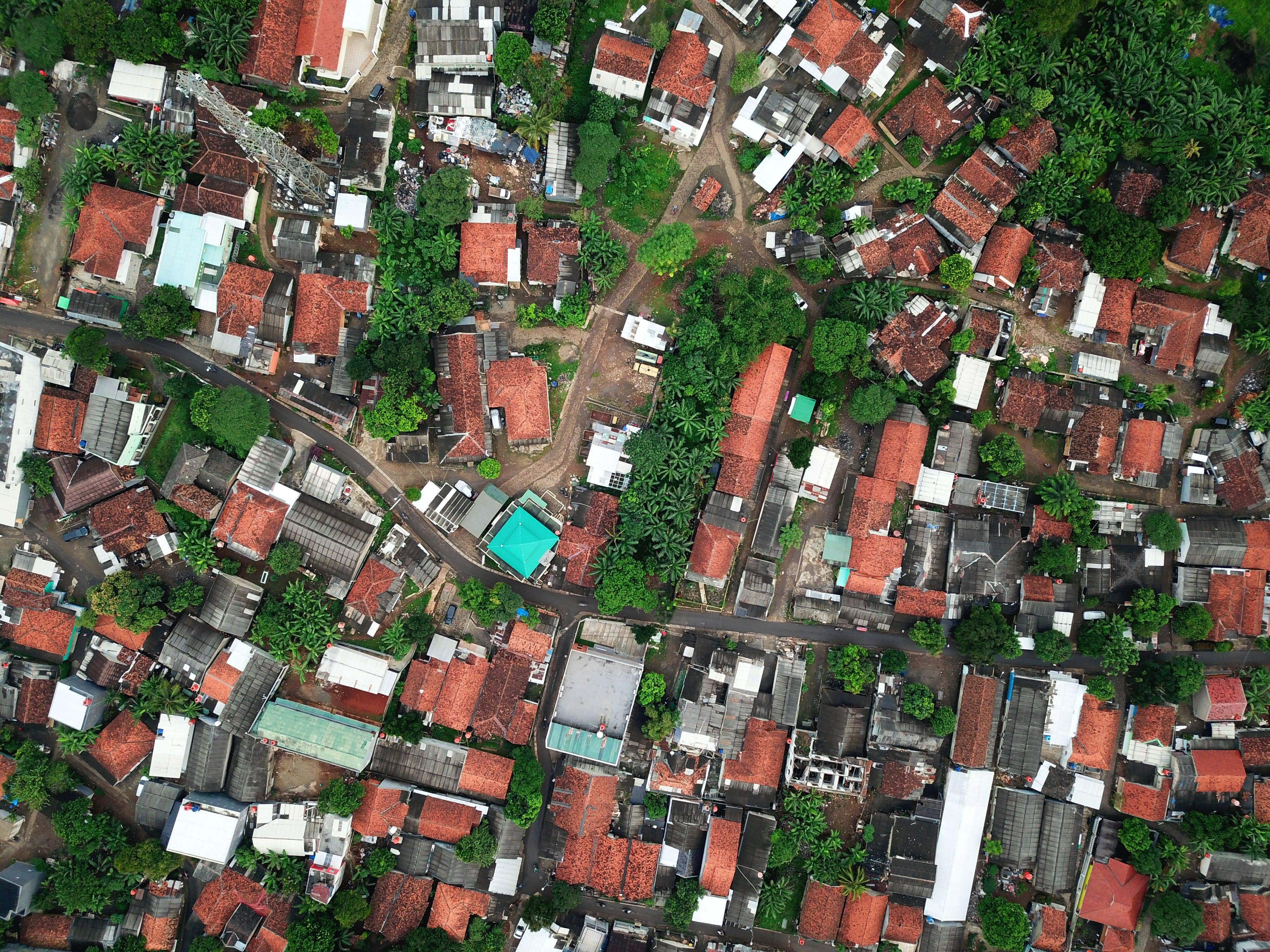 คลังภาพถ่ายฟรี ของ กำปง, จากข้างบน, บ้าน, ภาพถ่ายทางอากาศ
