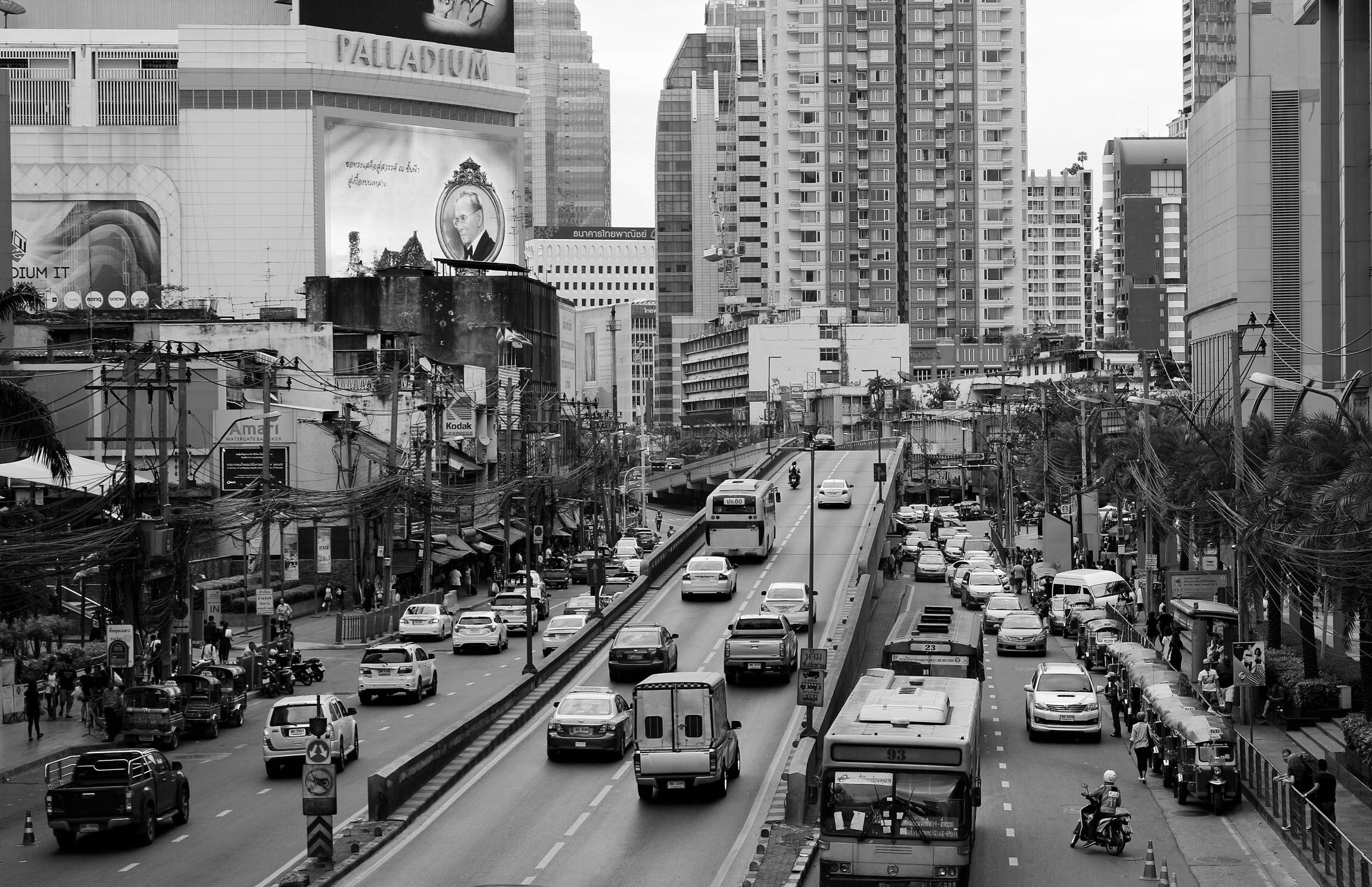 Free stock photo of black and white, cars, simple, thailand