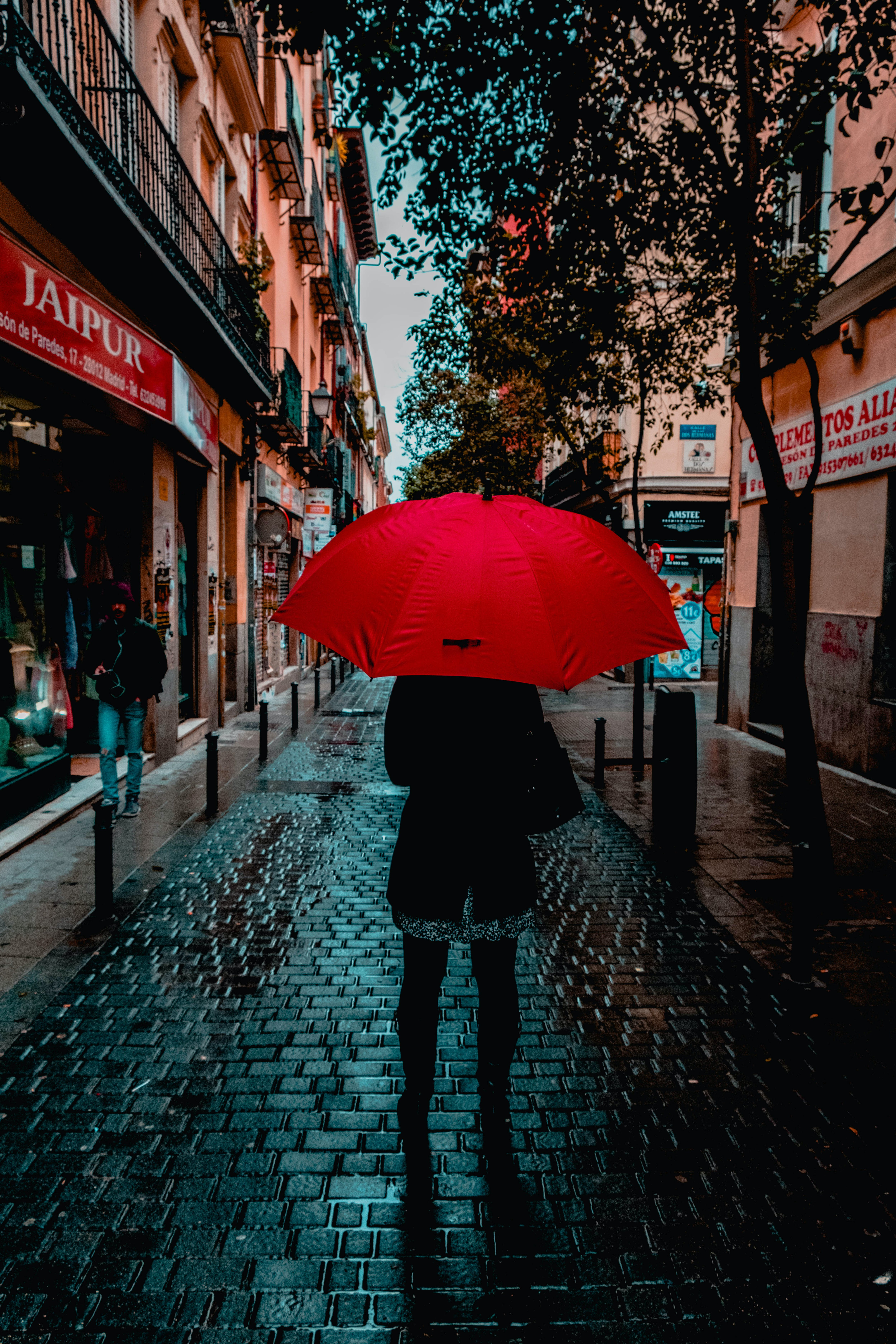 Photo of Person Holding Red Umbrella