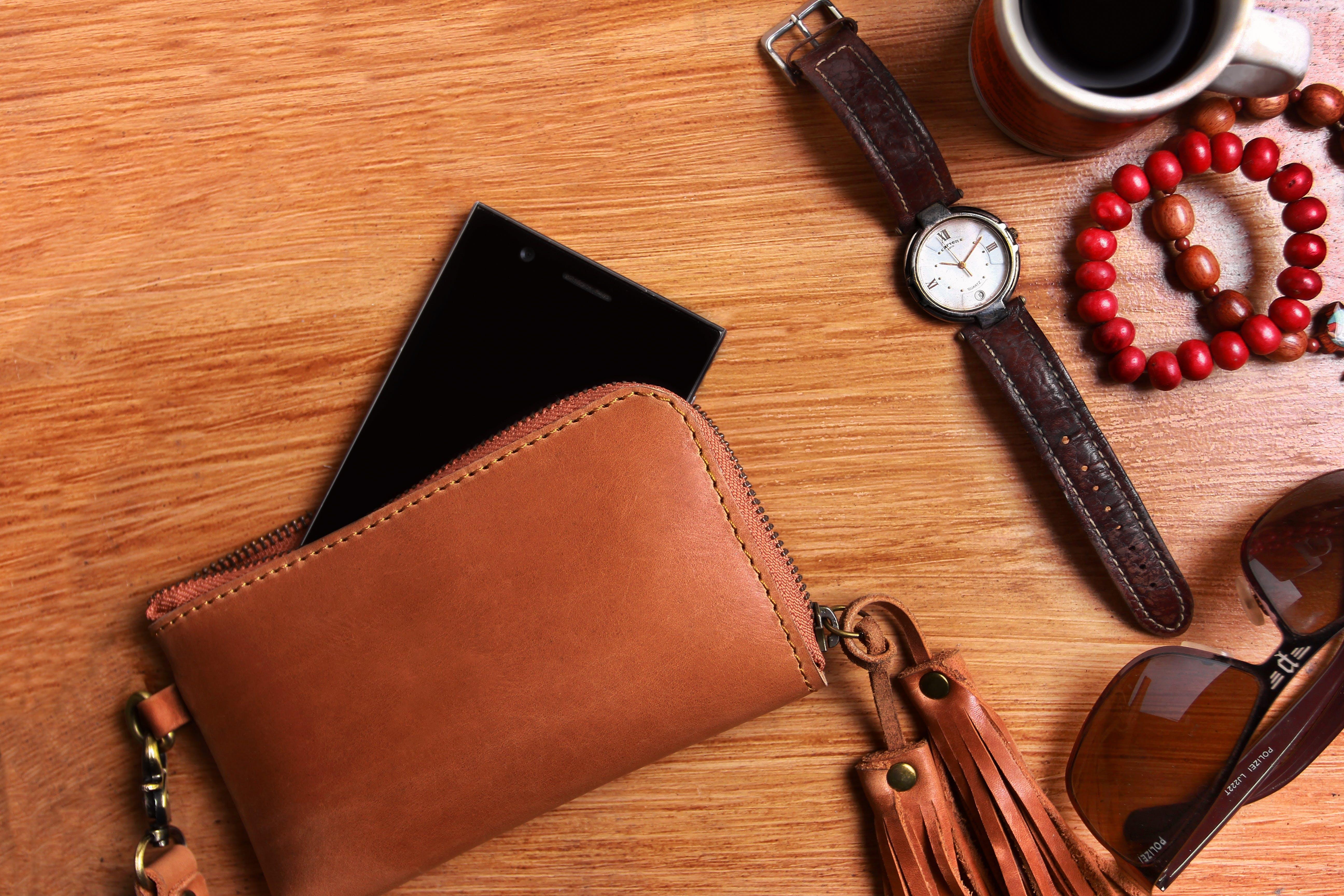 Brown Leather Zip Wristlet