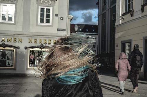 ヘア, 女性, 強風, 通りの無料の写真素材