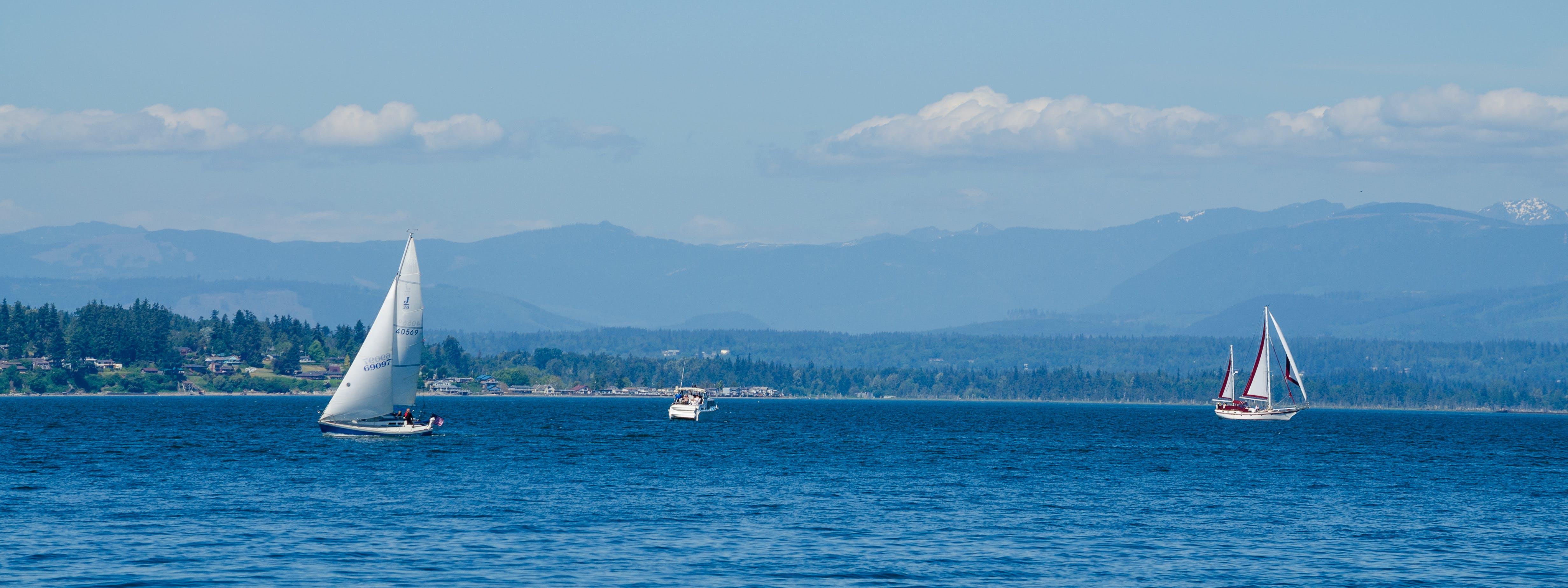 Free stock photo of blue, boats, everett washington, mountains