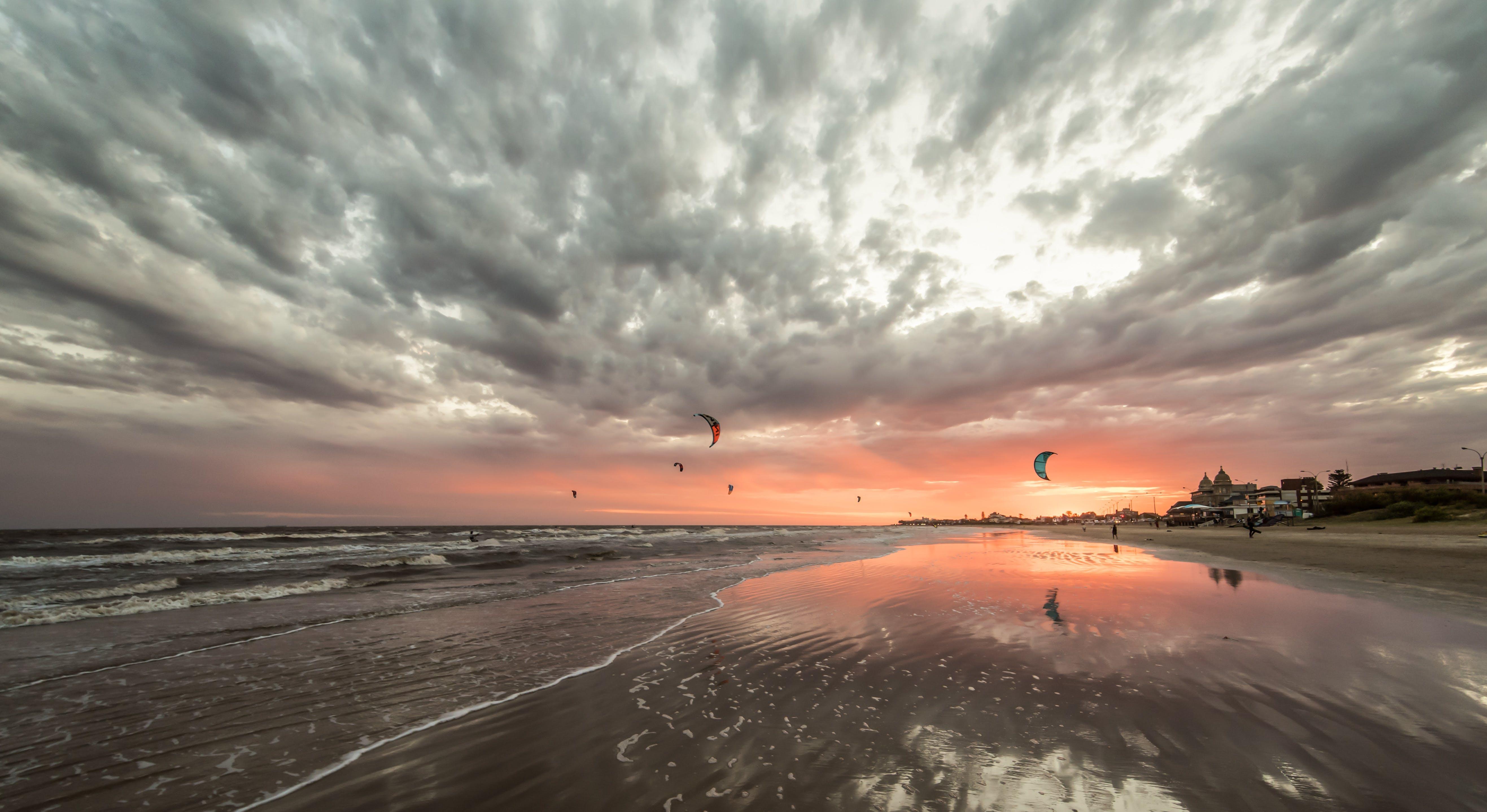 Free stock photo of beach, clouds, KITESURF, kitesurfing