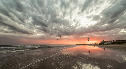 Free stock photo of beach, clouds, KITESURF