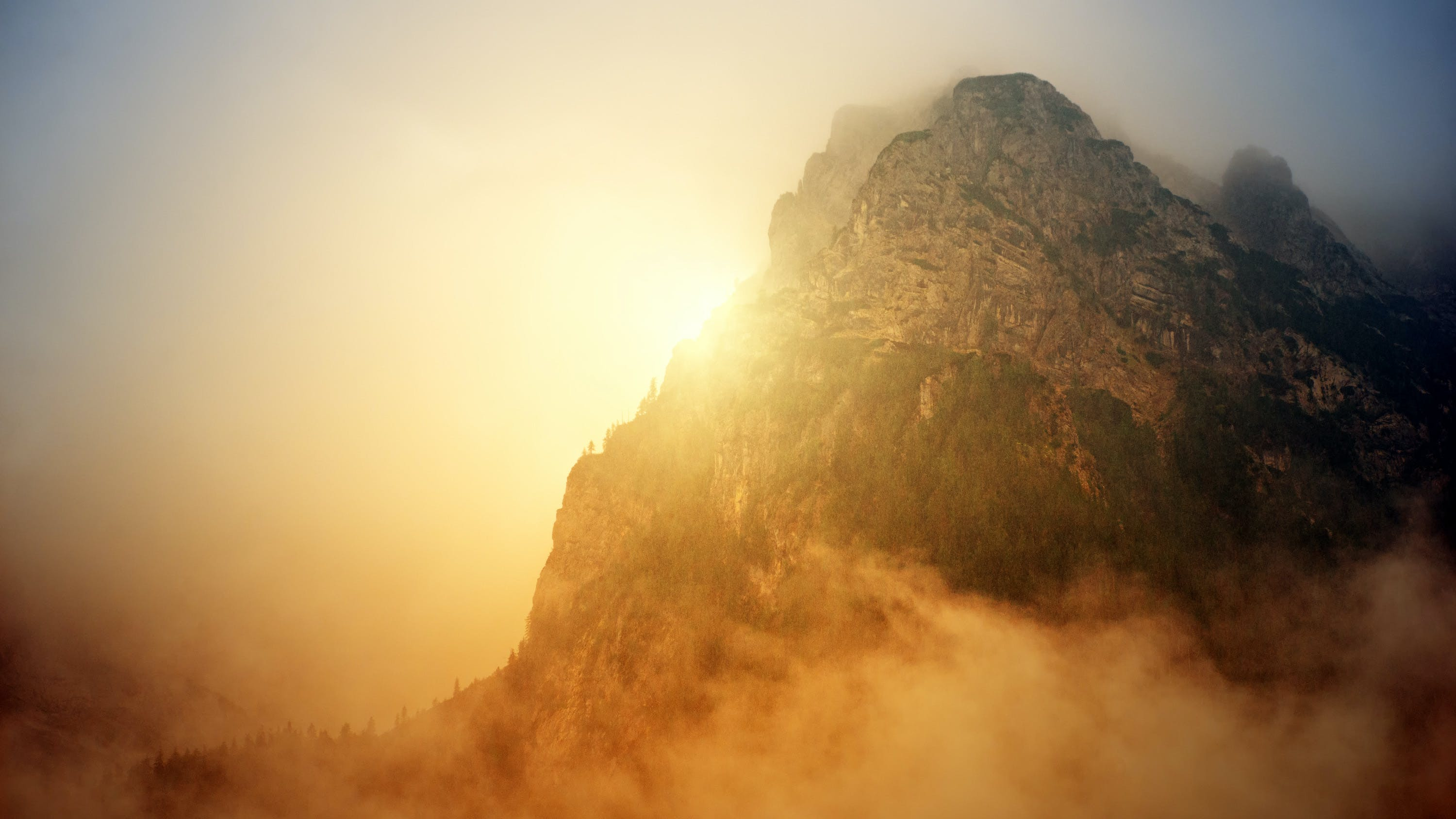 Golden Hour Photography of Mountain
