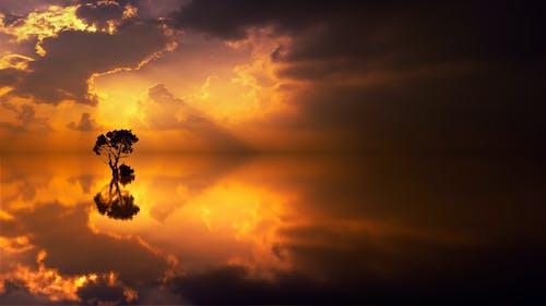 คลังภาพถ่ายฟรี ของ การสะท้อน, ดราม่า, ดวงอาทิตย์, ตอนเย็น
