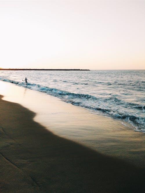 Ingyenes stockfotó ég, hajnal, homok, hullámok témában