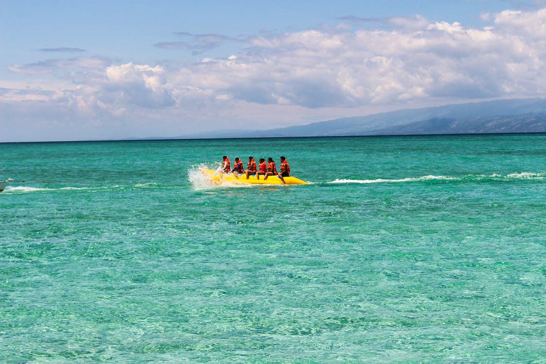 Free stock photo of banana boat, beach, clear water