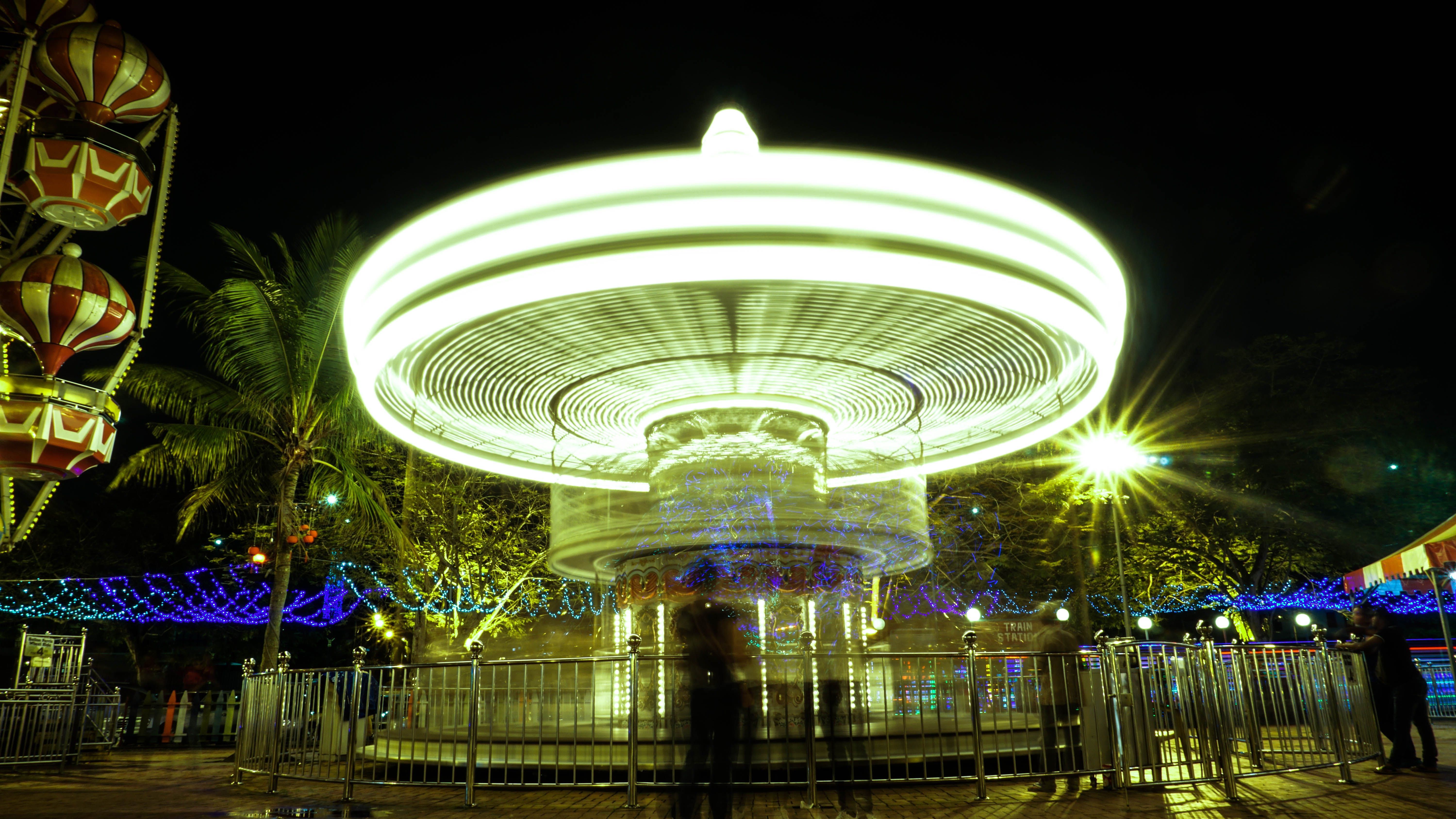 Free stock photo of city lights, funfair, light and shadow, light painting