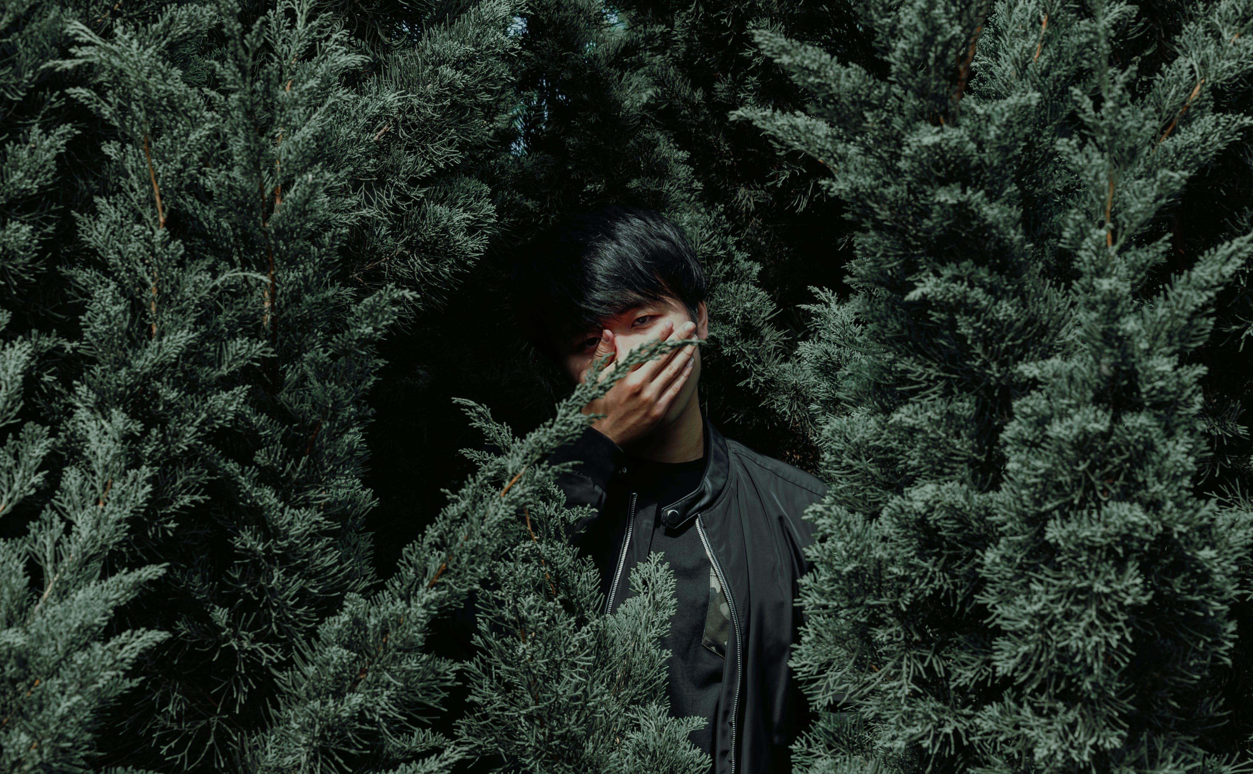 Man Wearing Black Jacket Between Tree