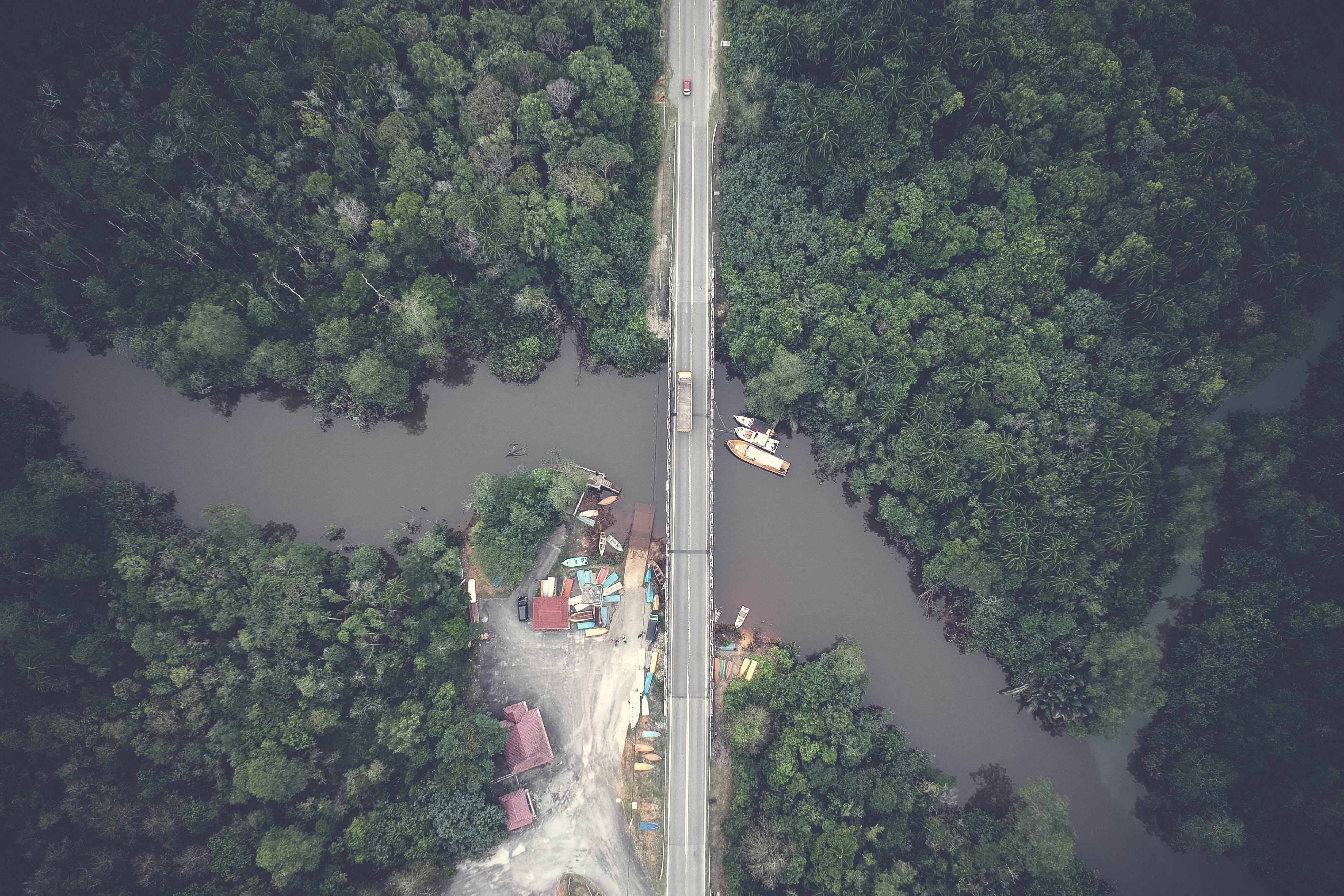 Aerial View Photography of Gray Concrete Bridge