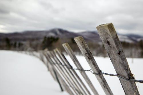 Free stock photo of farm, fence, mountain, snow