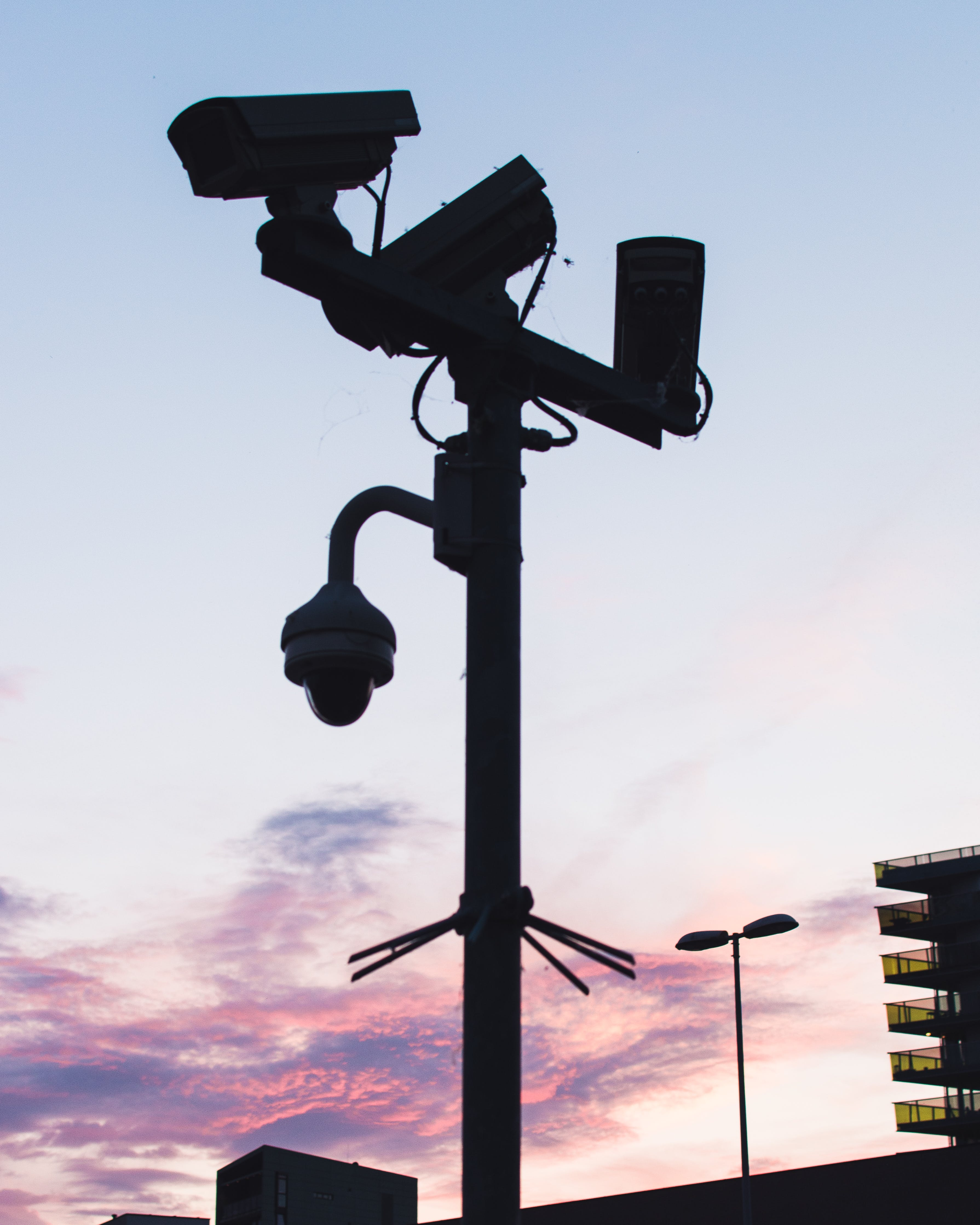 Black Lamp Post with Mounted Cameras