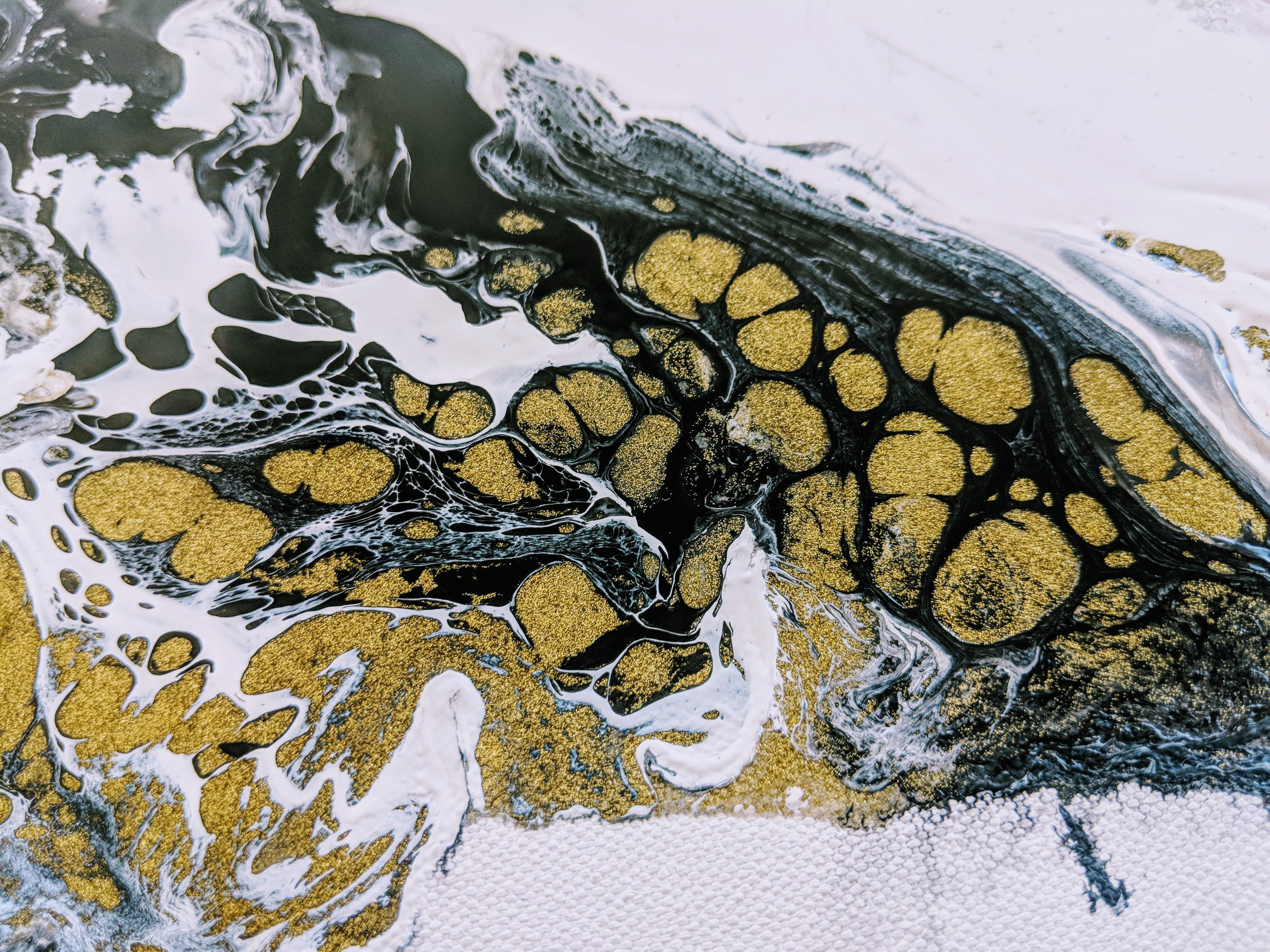 Free stock photo of abstract painting, black, cells, gold
