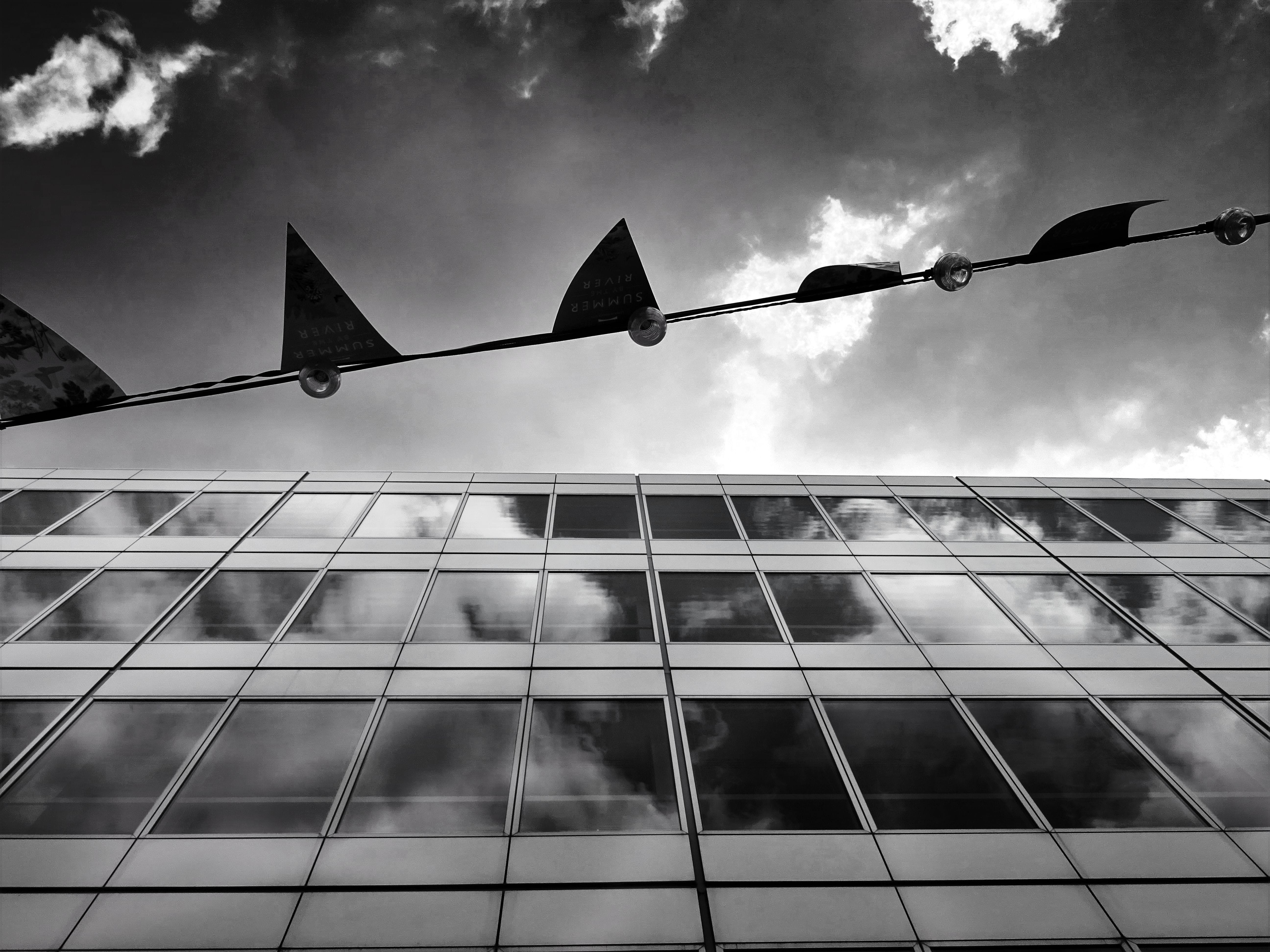 Grayscale Photography of a Building