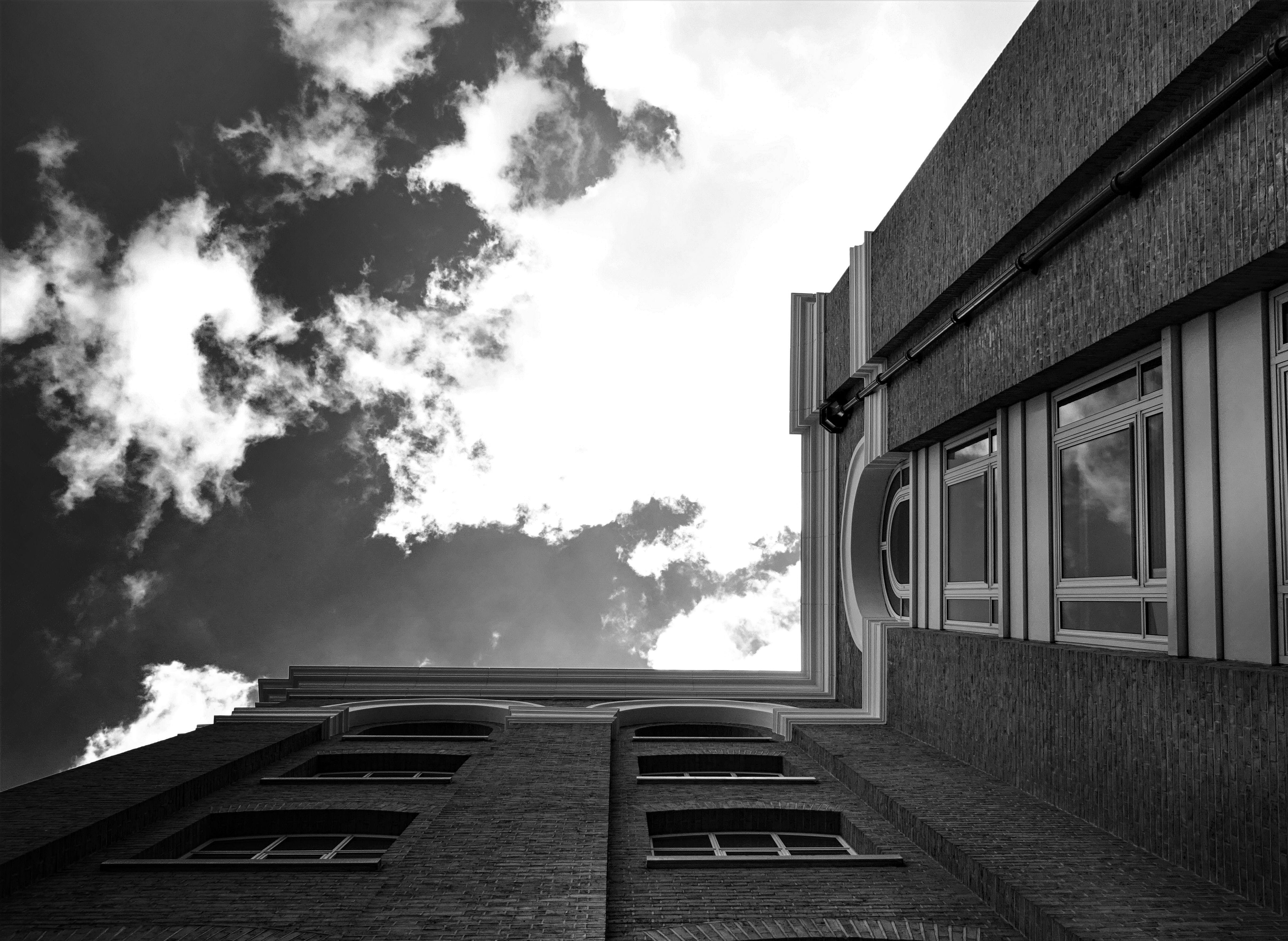 Grayscale Photography of Low Angle Building