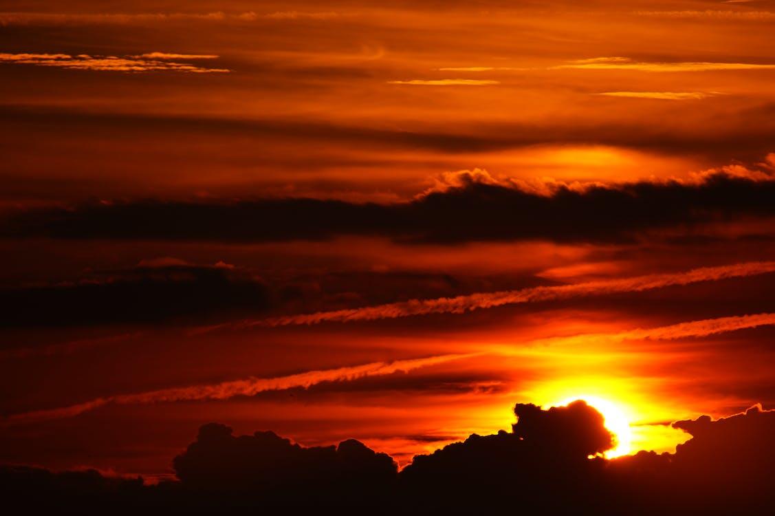 malebný, mraky, nebe