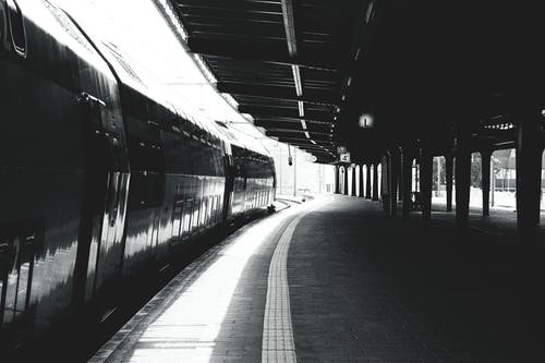 Grey Scale Photography of Train Station