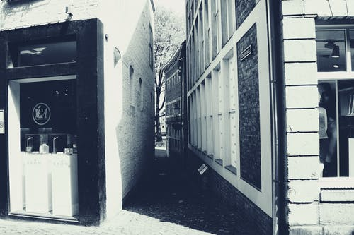 Free stock photo of black and white, shopping, street