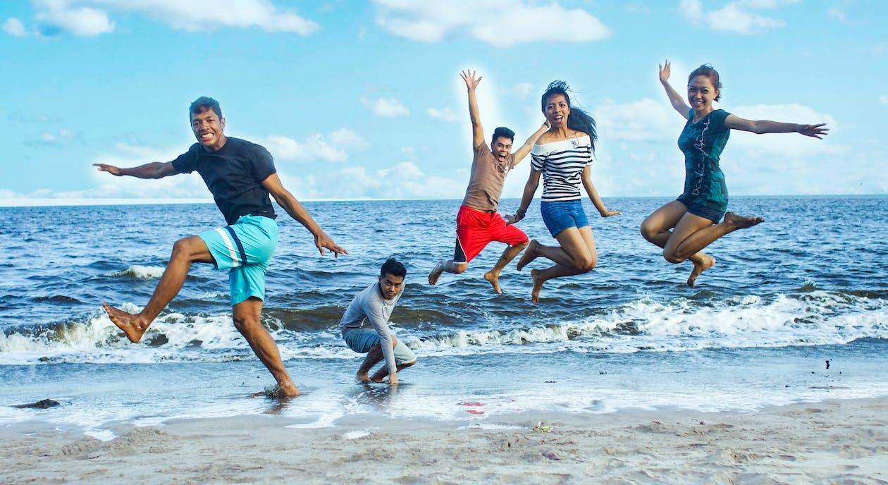 Free stock photo of friends, jump, sea