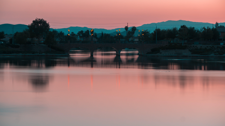 aften, bjerge, bro