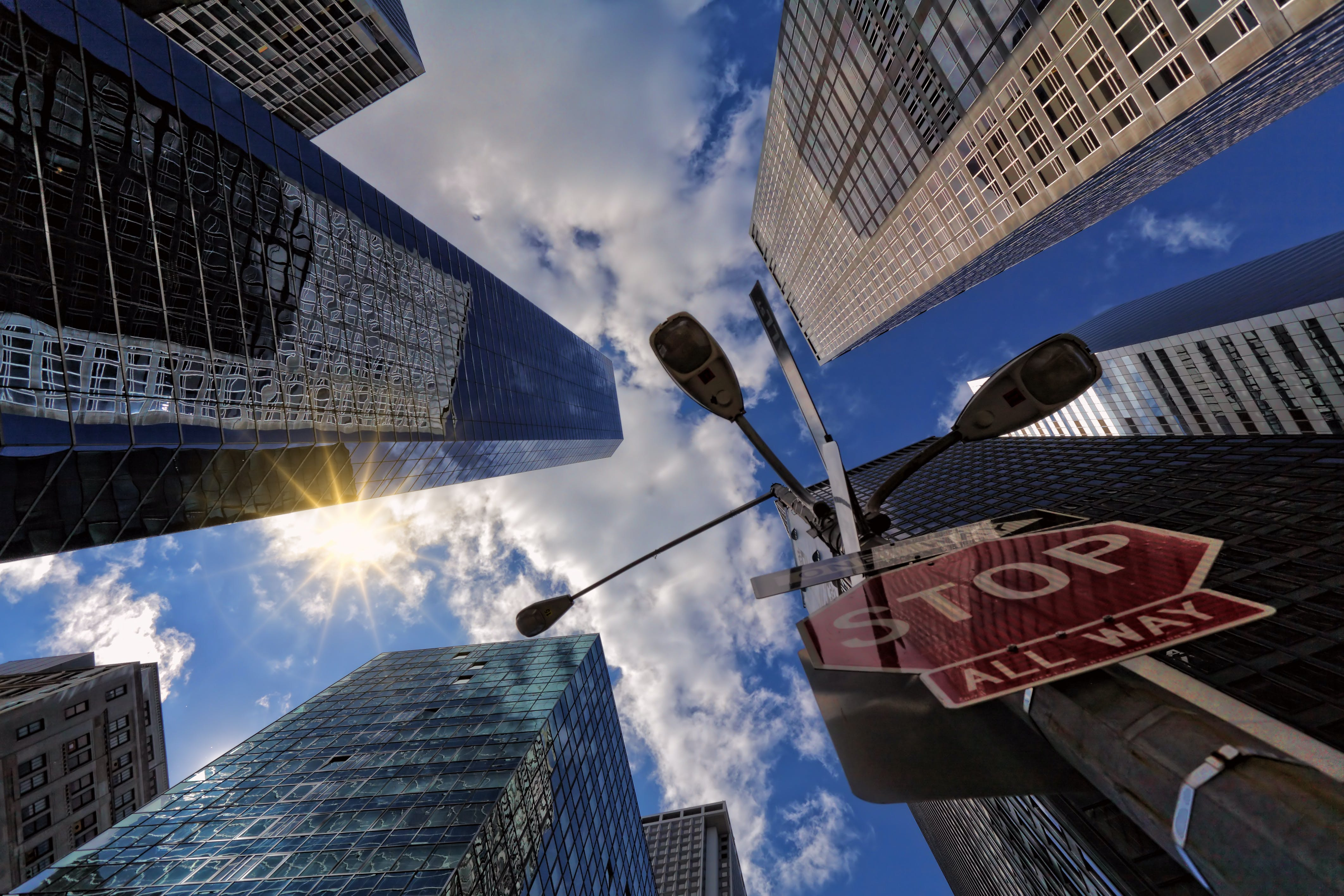 Worm's Eye View Of Skyscrapers