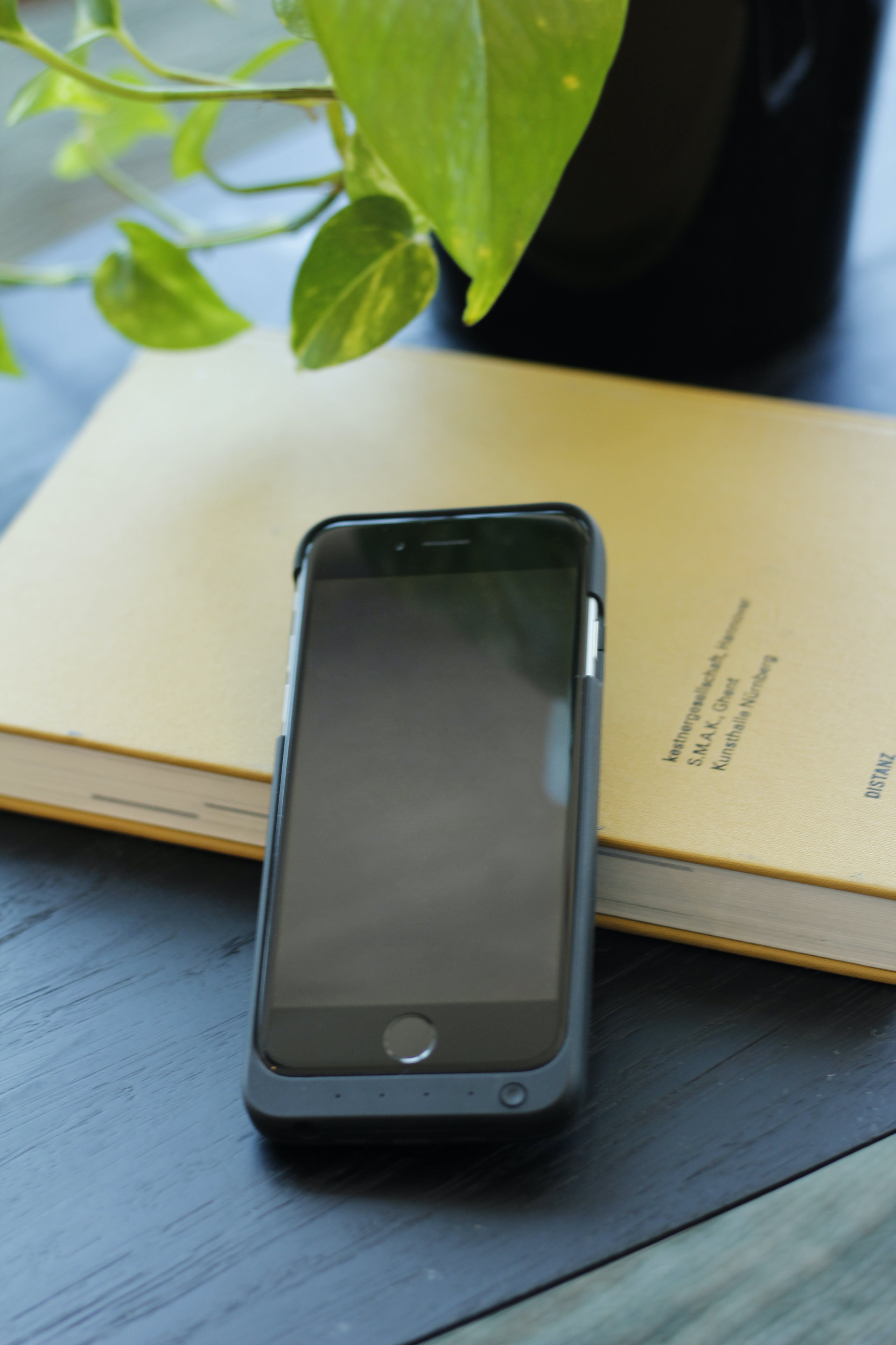 Free stock photo of iphone, plant, table, book