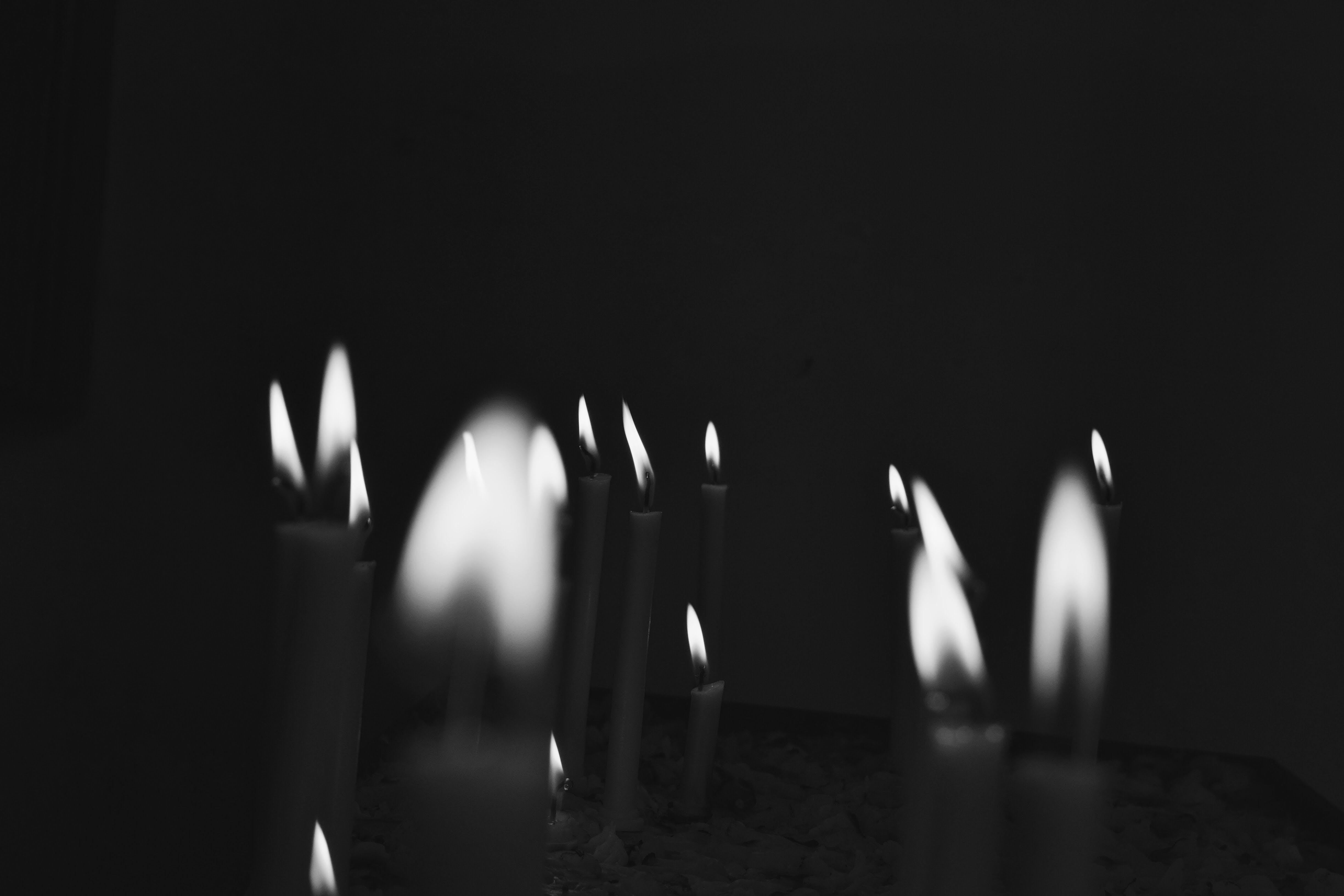 Free stock photo of black and white, candle, church, fire