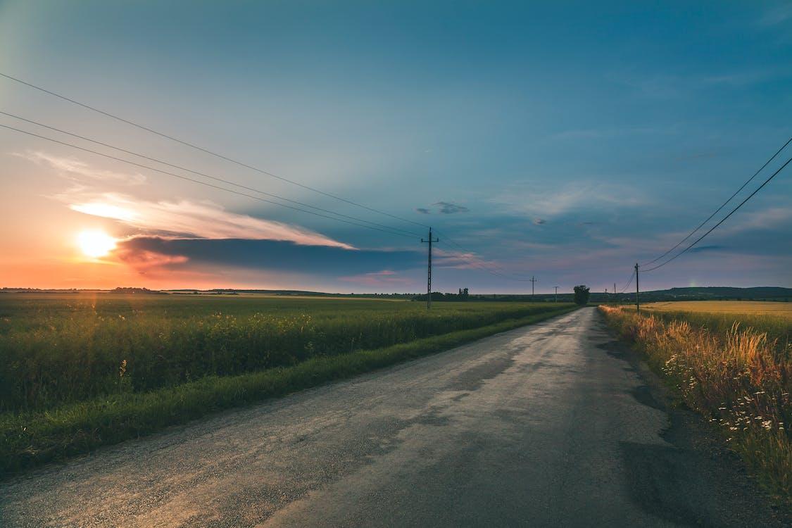 Grey Empty Road Between fields