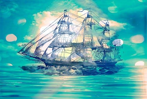 Бесплатное стоковое фото с голубой, лодка, море, небо