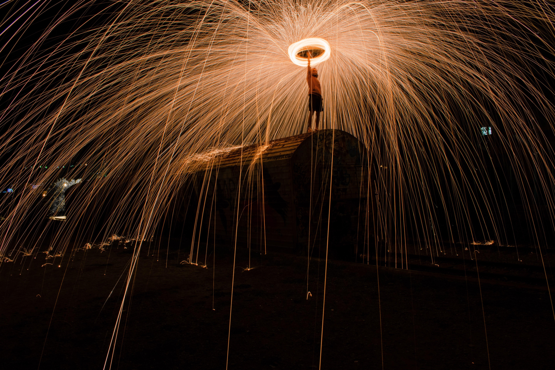 Free stock photo of night, train, long exposure, steel wool