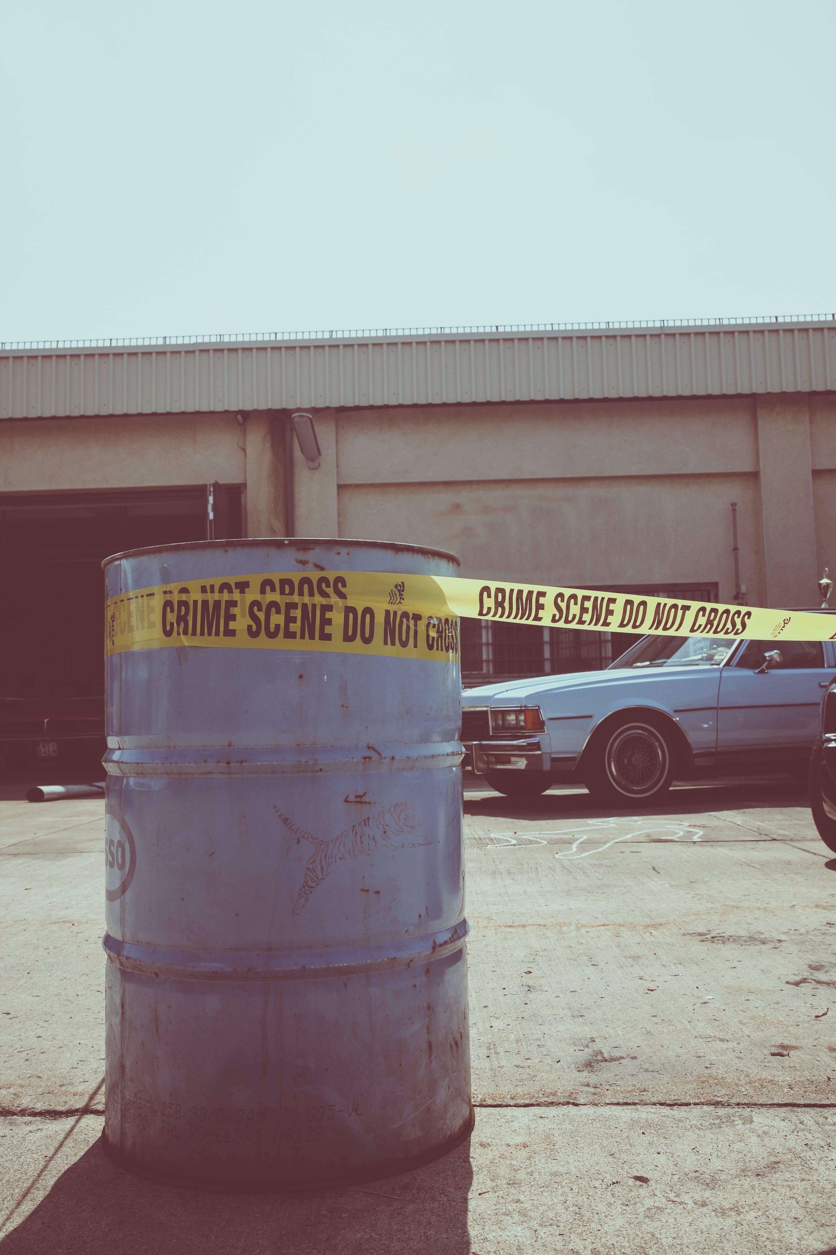 Free stock photo of car, crime, oildrum, scenery