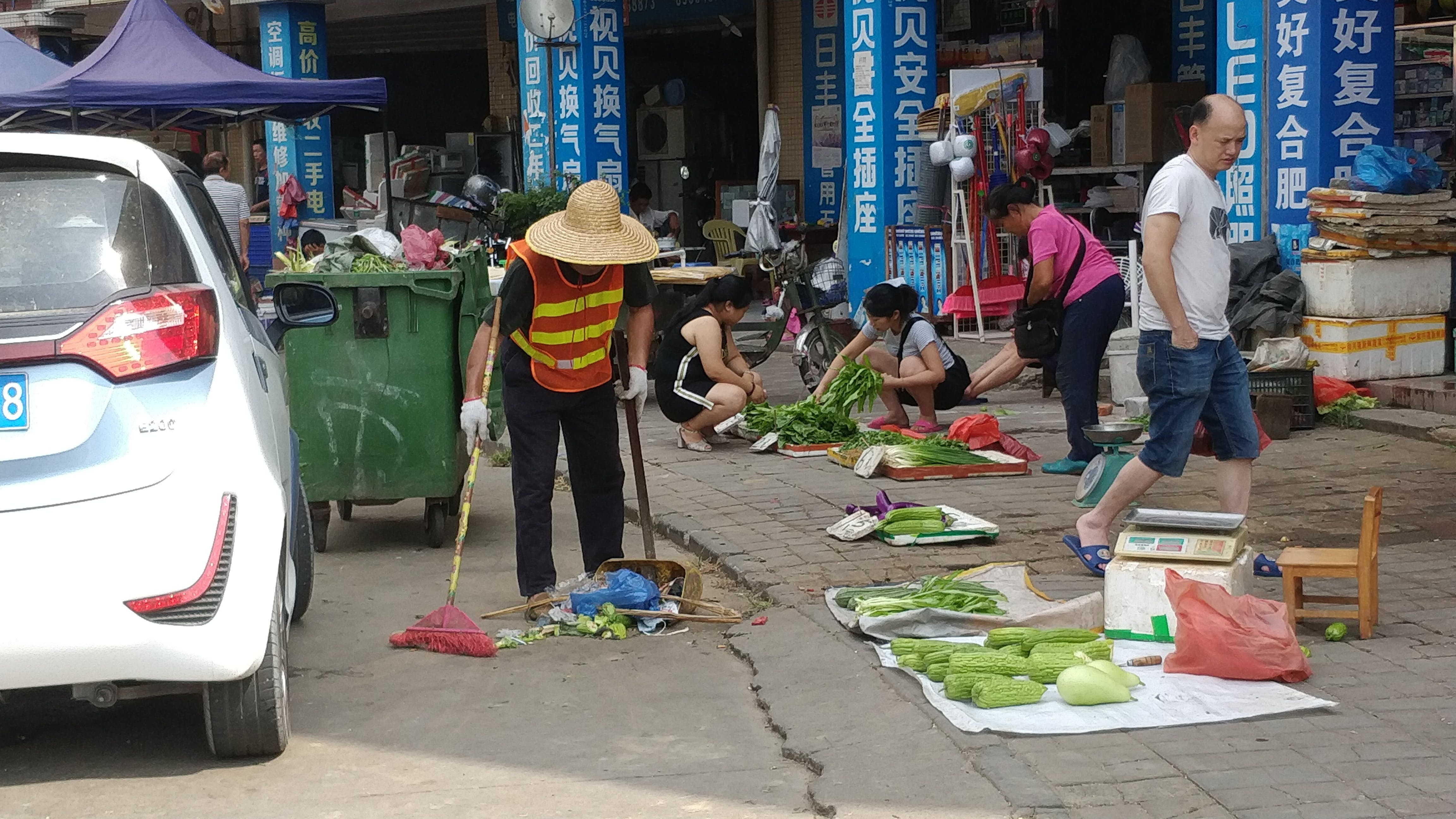 Free stock photo of china, cleaning, janitor, street market