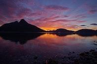 dawn, mountains, sky