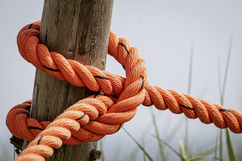 Orange Rope Wrapped Brown Wood Log