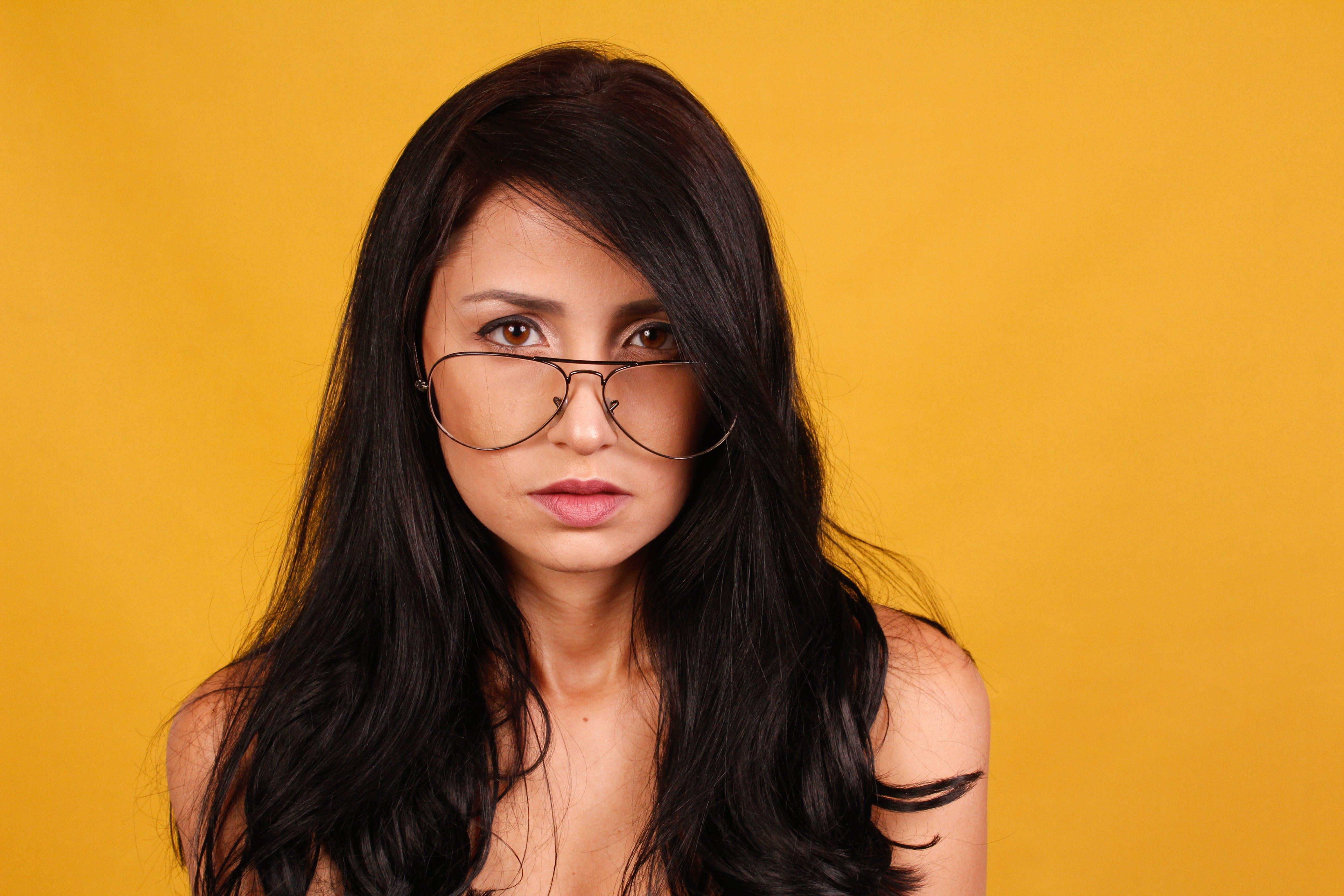 Woman Wearing Aviator Eyeglasses