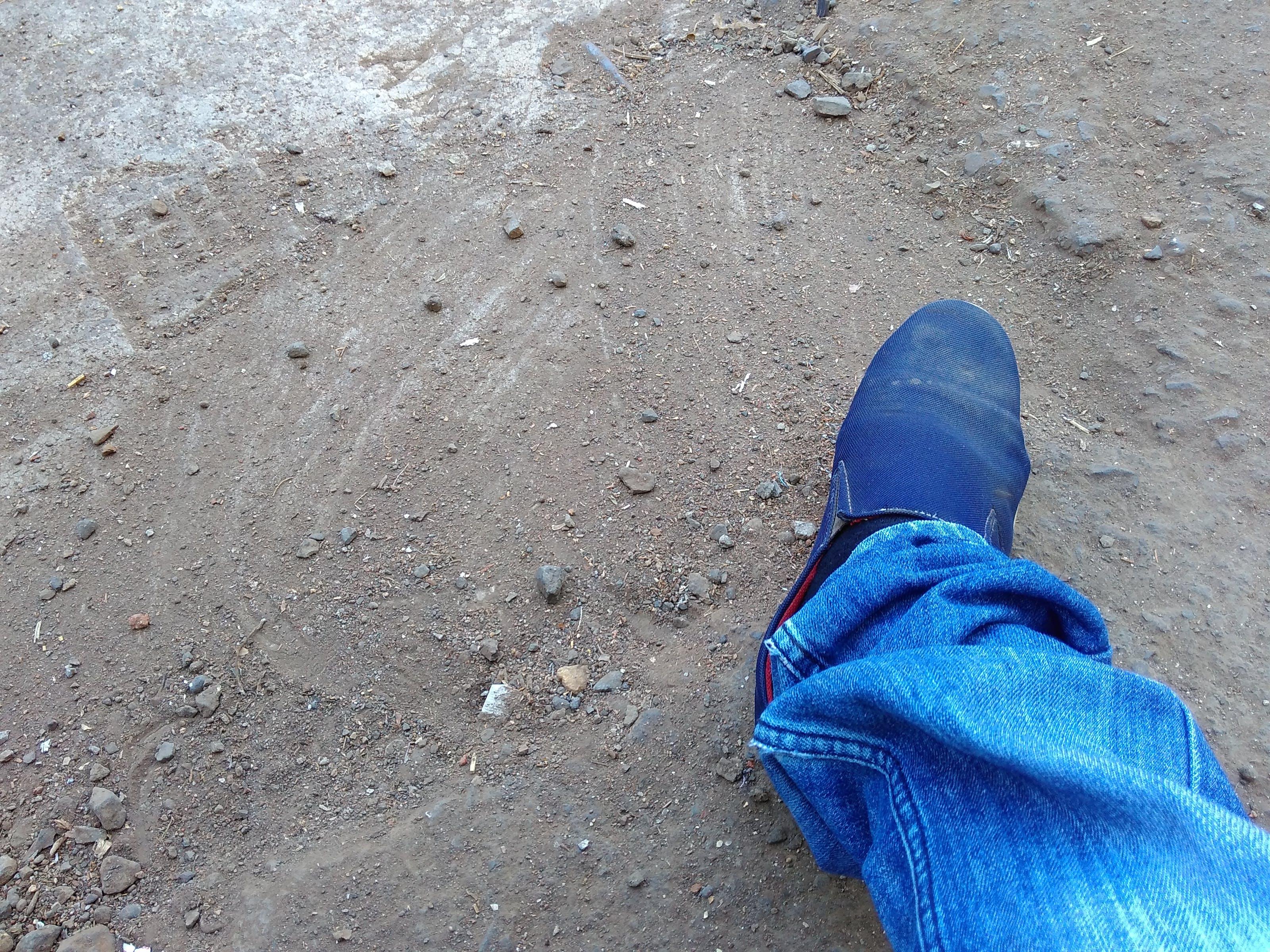 blue jeans, mud, road