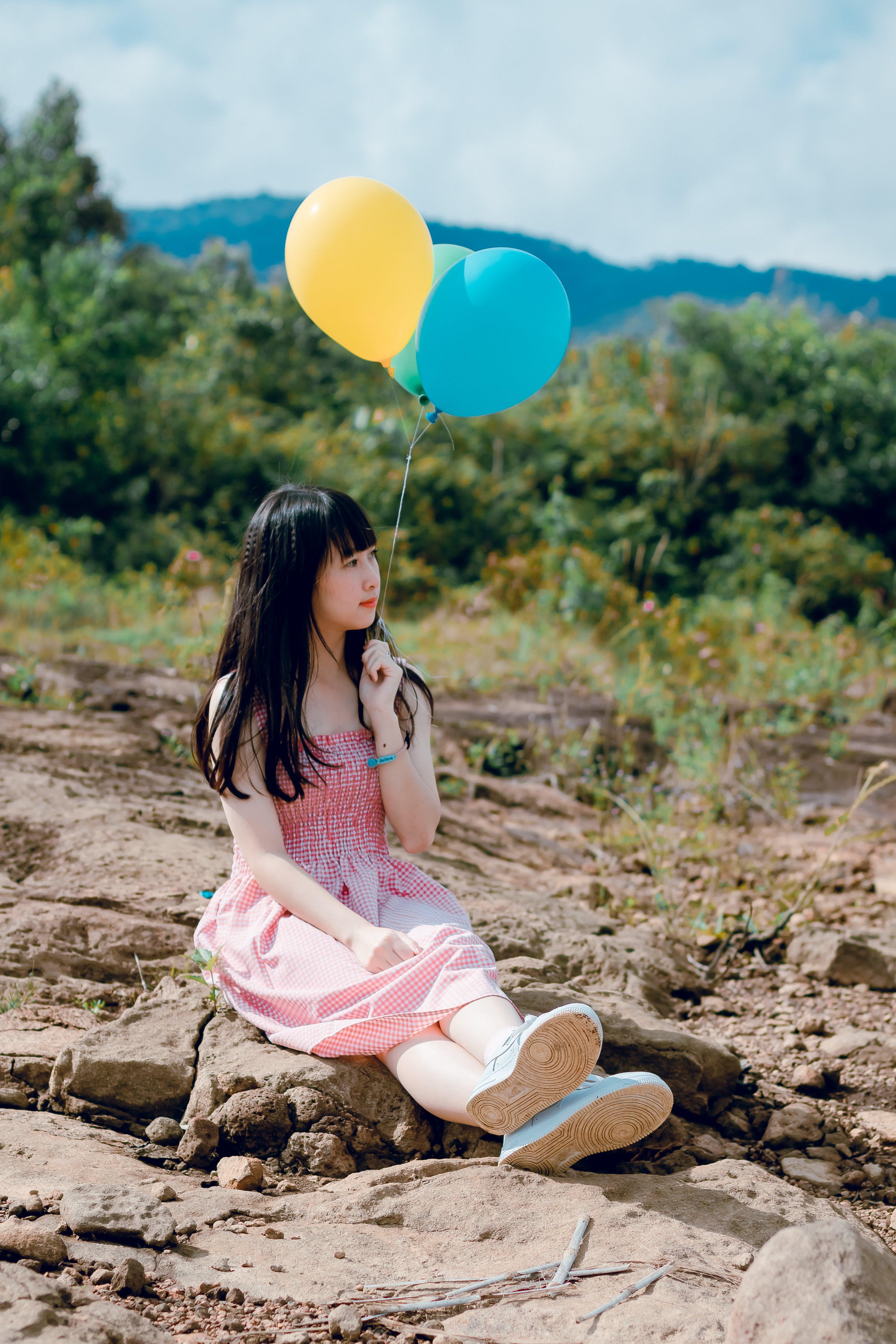 Kostenloses Stock Foto zu ballons, entspannung, erholung, frau