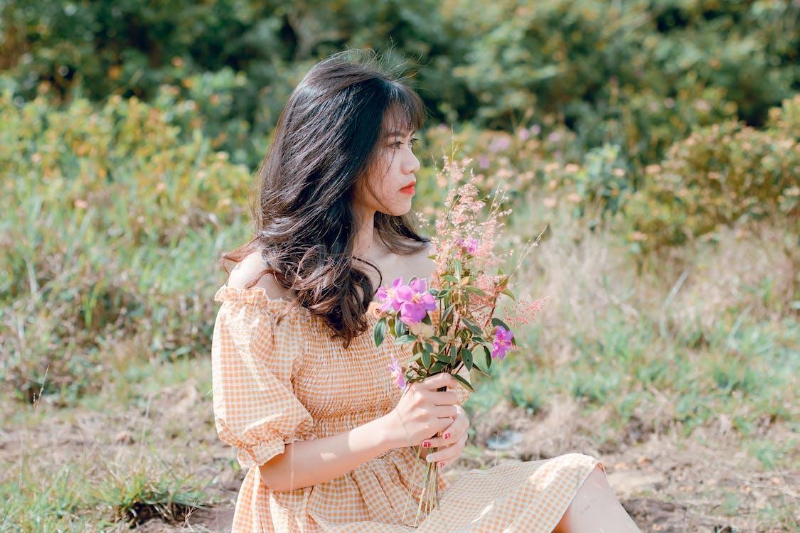 꽃, 사람, 소녀